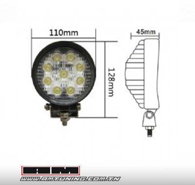 Phare additionnel rond LED 27W 30° - diam 11 cm - 1pc